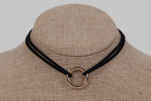 Double Suede Choker with Gold Ring