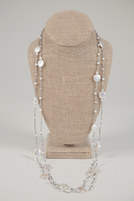 Long Coin Pearl Necklace on Gray Wax Cotton