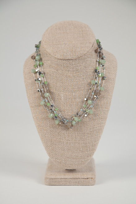 Silk Thread Necklace - Green Charcoal