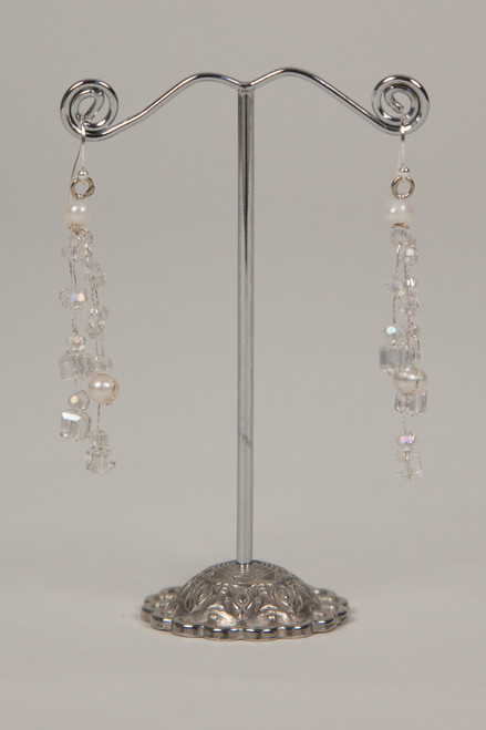 Silk Thread Earrings - Pearl and Crystal
