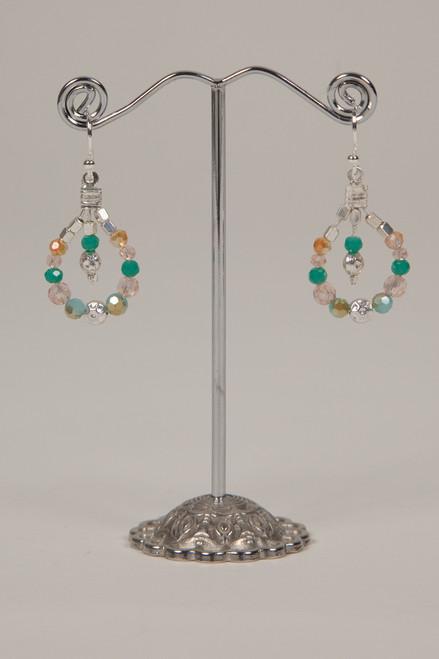 Stone & Crystal Earrings - Turqoise and Peach