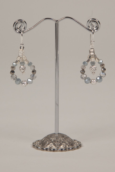 Stone & Crystal Earrings - Charcoal and Silver