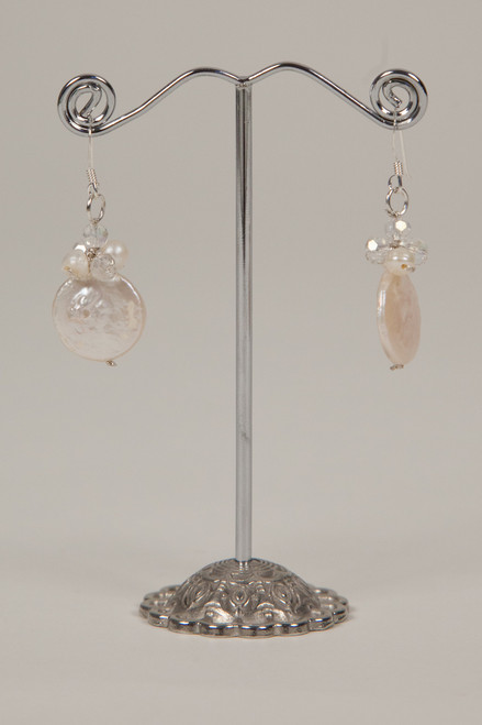 Coin Pearl Earrings - White