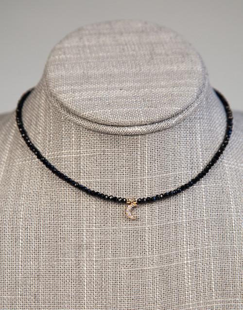 Black Beaded Choker with Moon Pendant