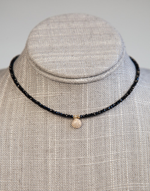 Black Beaded Choker with Disk Pendant