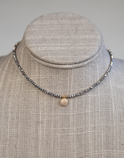 Silver Beaded Choker with Disk Pendant
