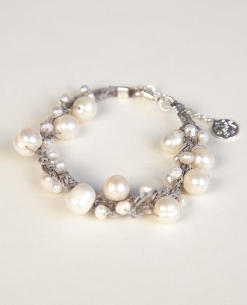 White Pearl Bracelet on Gray Wax Cotton