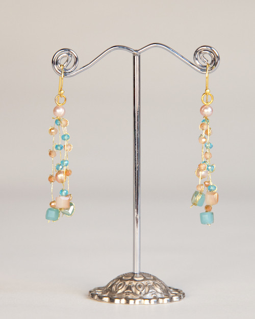 products earrings peach craftland dig shop moonstone