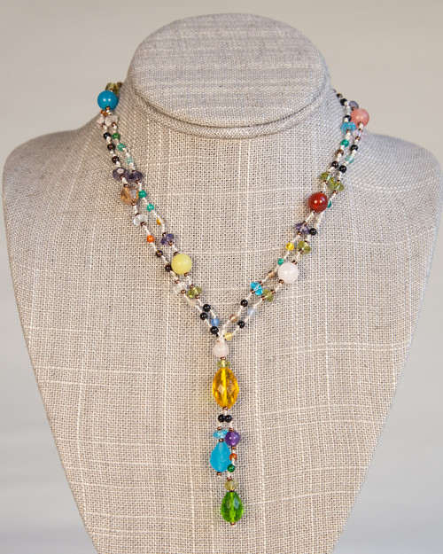 Carnivale Necklace on Silver Silk Thread