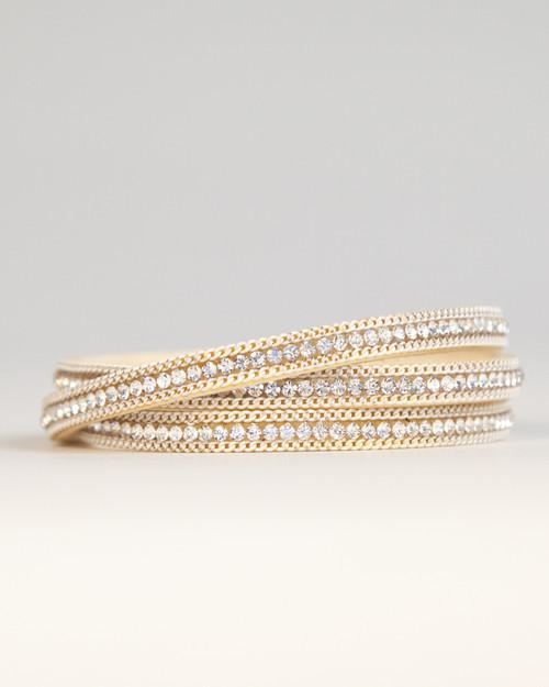 Leather & Crystal Wrap Bracelet - White Gold & Ivory