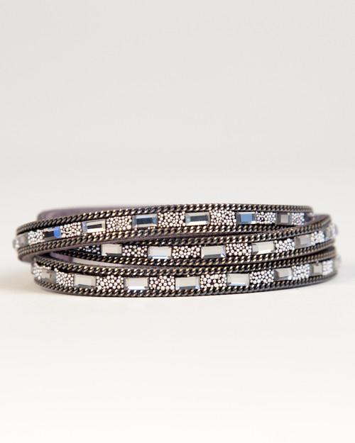 Crystal & Atom Wrap Bracelet - Gray