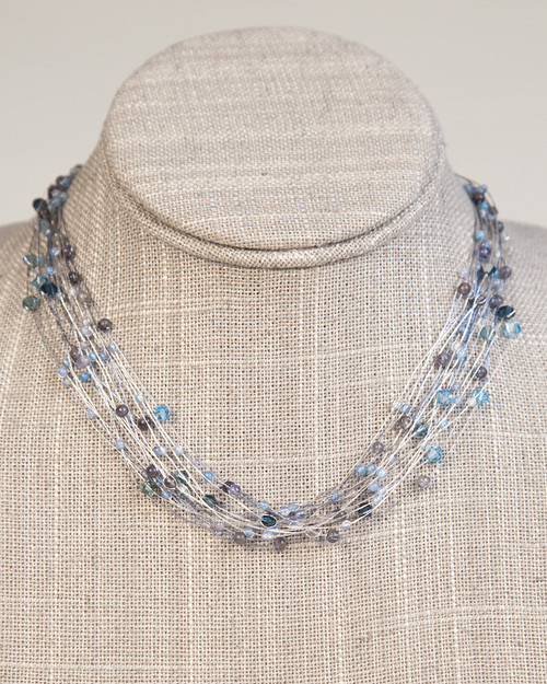 Bird's Nest Necklace - Turquoise & Charcoal
