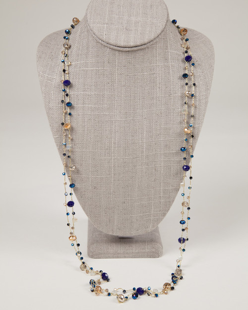 Long Indigo & Gold Disco Necklace