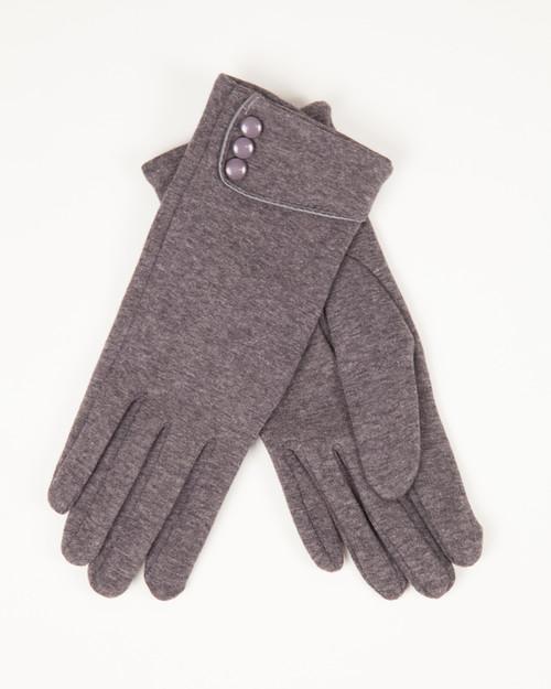 Three Button Gloves - Gray