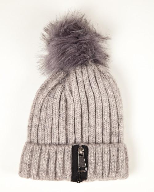 Winter White Zipper Pom Pom Hat