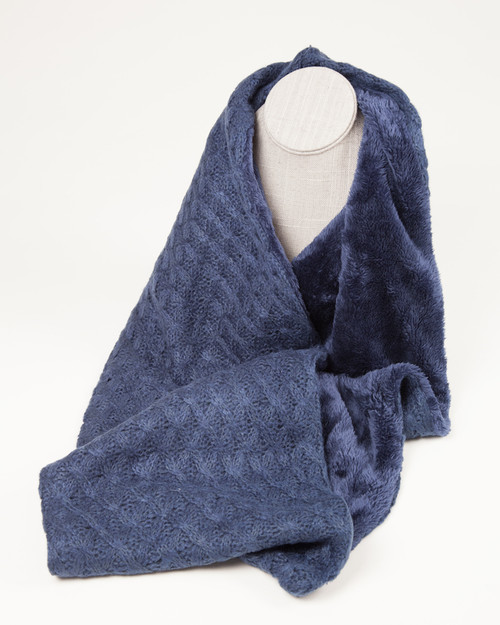 Fine Knit Infinity Scarf with faux fur lining - Blue