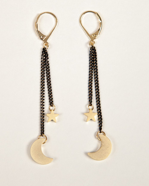 Black & Gold Slider Collection Earrings - Moon & Star