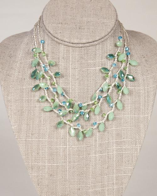 Multi-Strand Tear Drop Necklace -Green