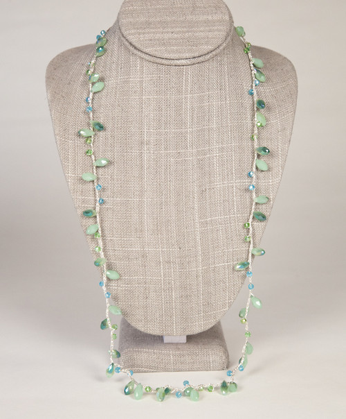 Long Tear Drop Necklace - Green