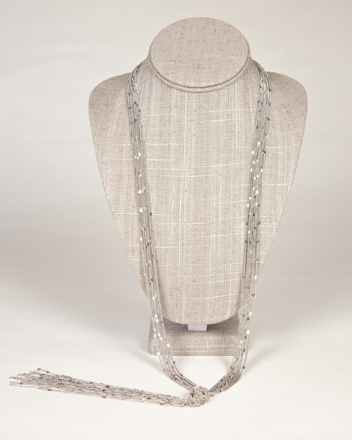 Tassel Knot Necklace-Silver