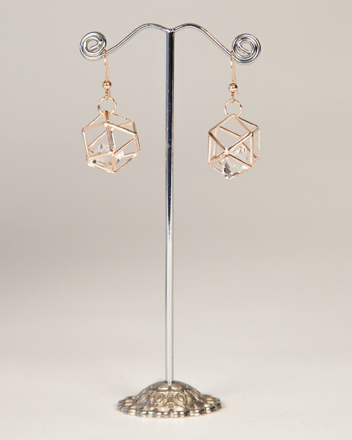 Galaxy Cage Earrings-Rose Gold
