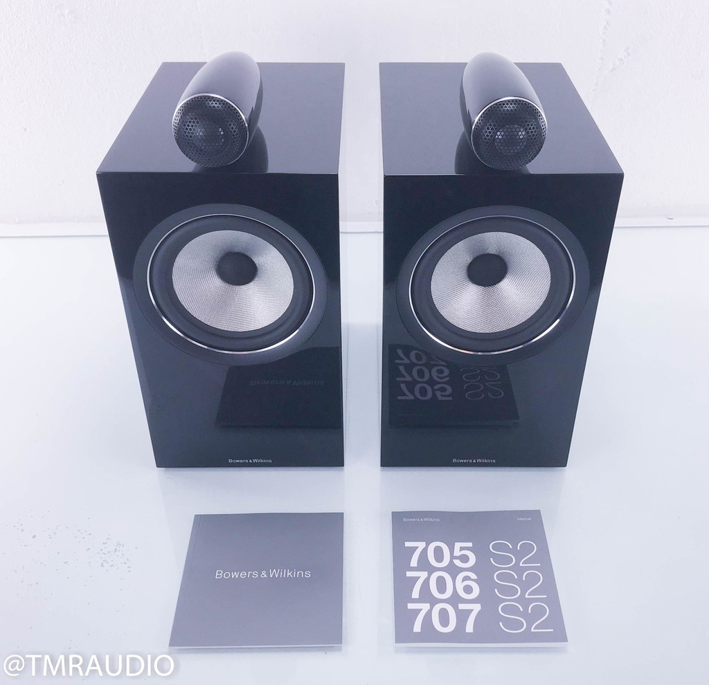 B&W 705 S2 Bookshelf Speakers; Piano Black Pair (NEW)