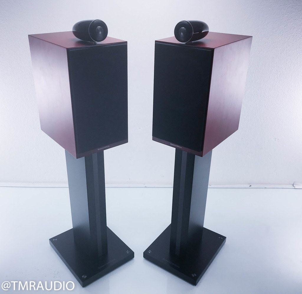 B&W CM6 S2 Bookshelf Speakers; Rosenut Pair w/ Stands