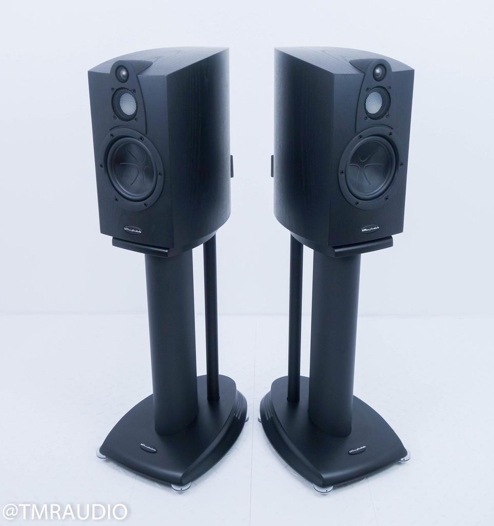 Wharfedale Jade-3 Bookshelf Speakers; Black Oak Pair w/ Stands