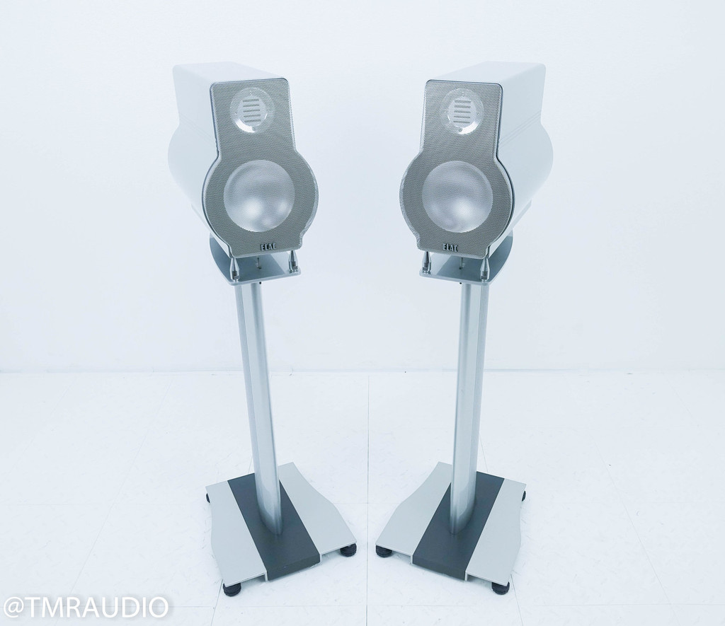 ELAC 330 Jet Authentic Bookshelf Speakers; Silver Pair w/ Stands