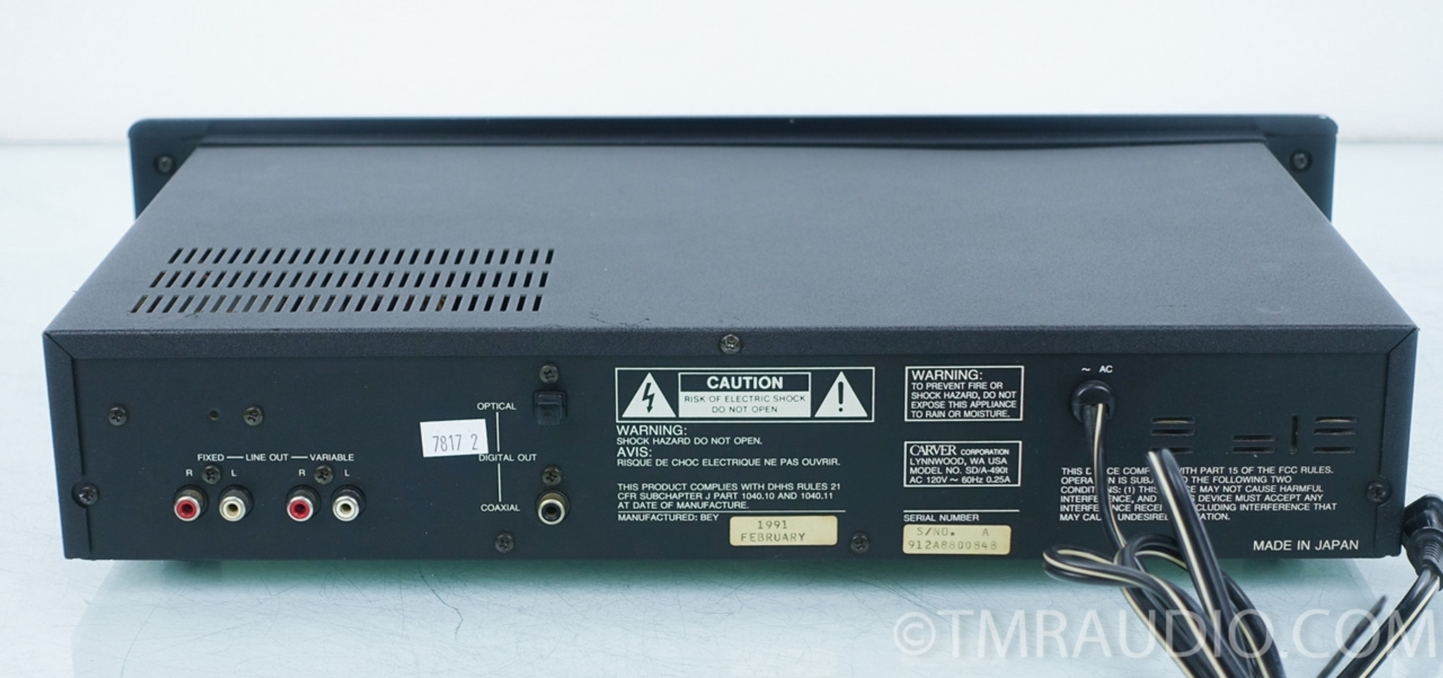 Carver SD/A 490t Tube CD Player