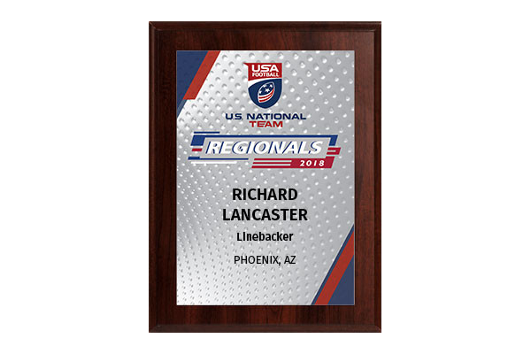 2018 USA Football U.S. National Team Regionals 6x8 Event Plaque