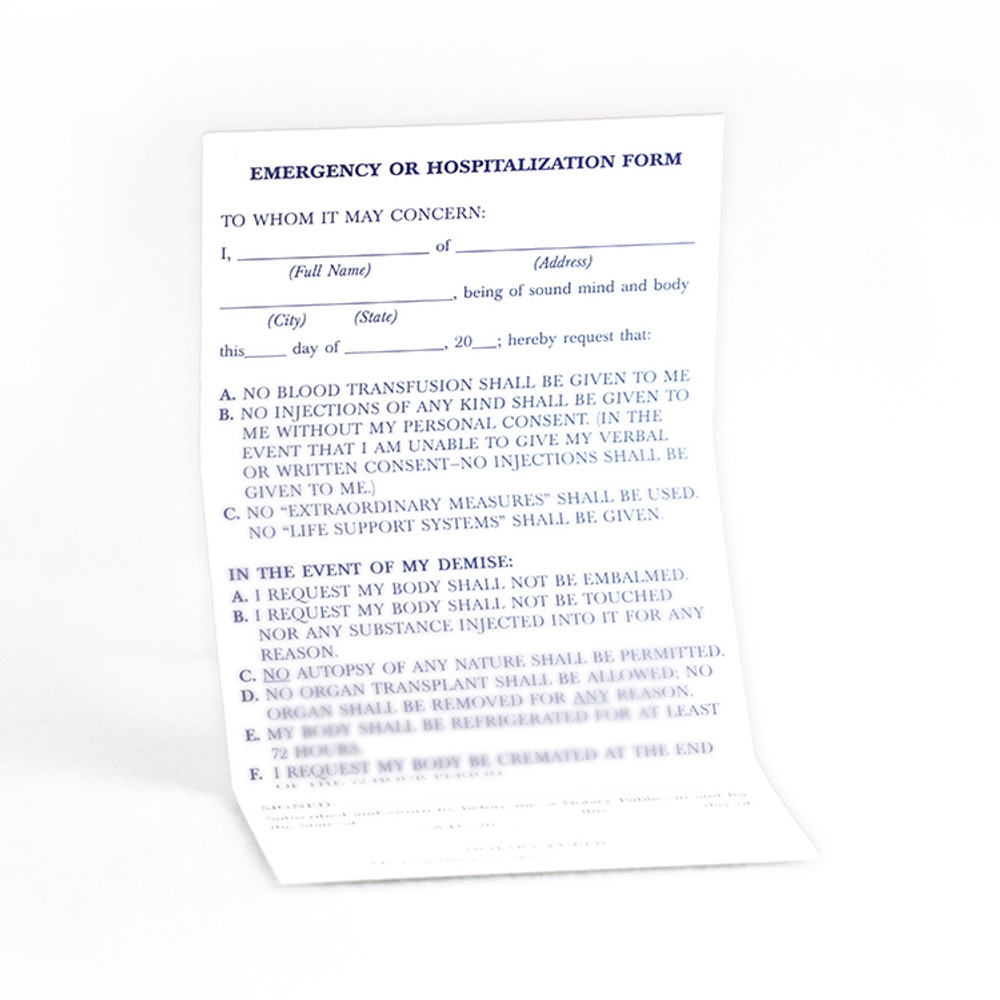 Hospitalization Emergency Wallet Card