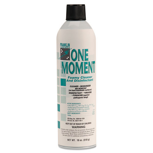 Franklin fklf803215 one moment foaming cleaner and disinfectant deodorizer one step citral scent 18oz size case of 12 aerosol cans replaces frkf803215