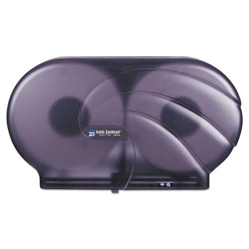 San Jamar SJMR4090TBK jumbo jr roll bathroom tissue dispenser holds two 9 inch rolls black plastic
