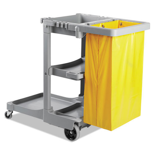 Boardwalk BWKJCARTGRA janitor cart with 24 gallon yellow vinyl bag