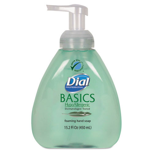 Dial Basics foaming lotion soap with aloe hypoallergenic 15.2oz pump bottle case of 4 Dia98609