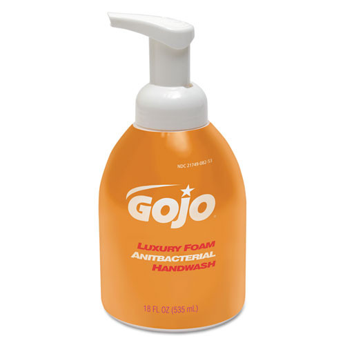 Gojo goj576204 luxury foam antibacterial handwash 18oz foaming pump bottles case of 4 bottles