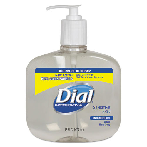 Dial Sensitive Skin antimicrobial handsoap 16oz pump bottle case of 12 Dia80784