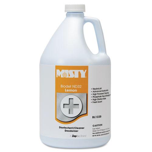 Misty biodet nd32 liquid disinfectant deodorizer multipurpose cleaner neutral ph lemon scent gallon bottles case of 4 replaces AMRR12204 amrep AMR1038806