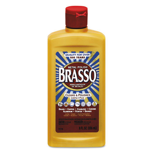 Brasso RAC89334 metal polish for brass stainless steel copper chrome 8oz plastic bottle case of 8 replaces REC89334 RAC89334