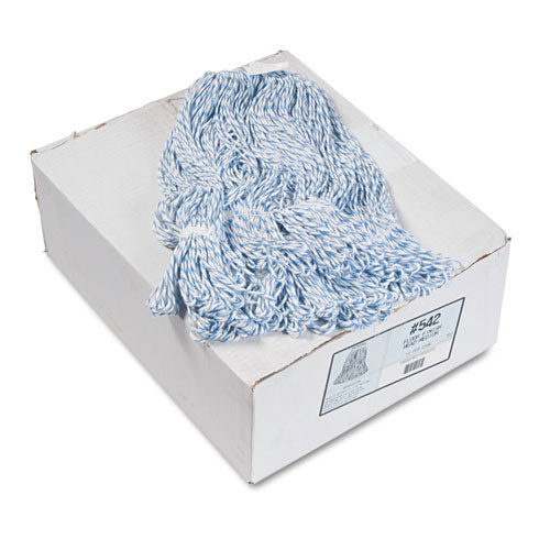 Boardwalk BWK542CT floor finish mop head, narrow, rayon polyester, medium white blue case of 12