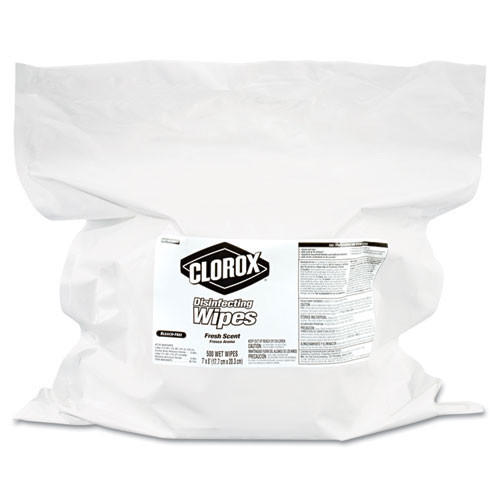 Clorox CLO31428 disinfecting wipes refill 7x7 fresh scent 700 per bag 2 bags per case replaces CLO30220CT