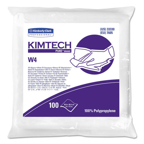 Kimberly Clark kcc33330 w4 dry wipers, flat, 12 x 12, white, 100 pack, 5 packs carton