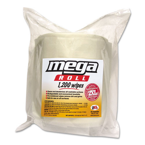 Txll420 mega roll wipes refill, 8 x 8, white, 1200 roll, 2 rolls carton