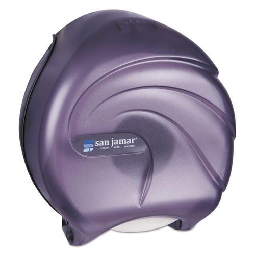San Jamar SJMR2090TBK Oceans jumbo jr roll bathroom tissue dispenser holds one 9 inch roll black plastic