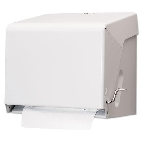 San Jamar SJMT800WH paper hand towel dispenser roll towel crank cabinet white steel
