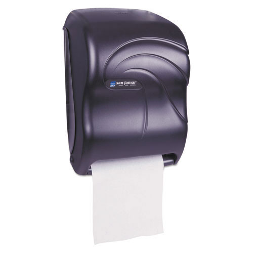 San Jamar SJMT1390TBK Oceans Tear N Dry touch free paper hand towel dispenser holds up to 8 inch wide towels uses 4 d batteries