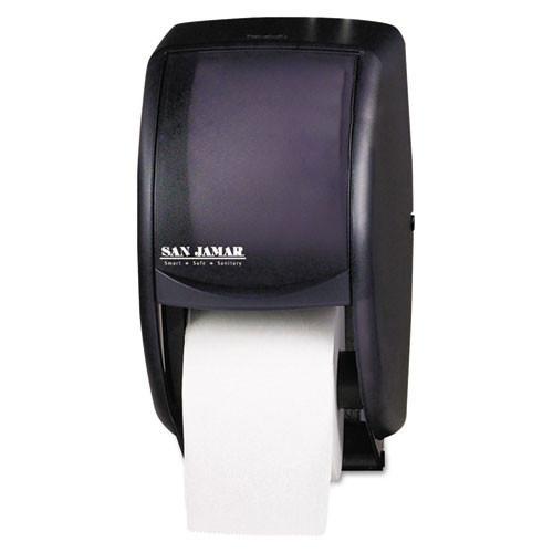 San jamar sjmr3500tbk duett standard bath tissue dispenser, 2 roll, 7 .5w x 7d x 12 .75h, black pearl