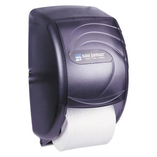San Jamar SJMR3590TBK standard roll bathroom tissue dispenser holds two rolls black plastic