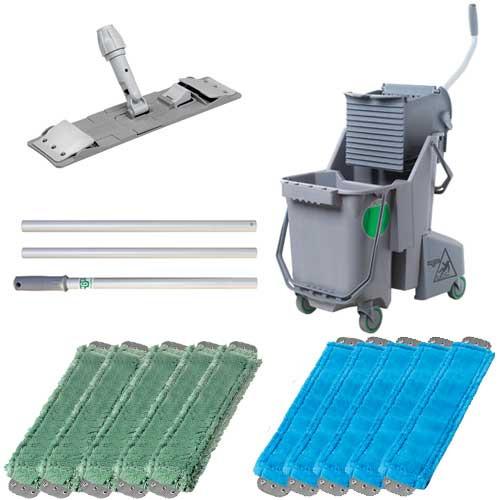 Unger combgbkit microfiber gray mopping kit includes bucket wringer mop handle mop holder 10 mops gw